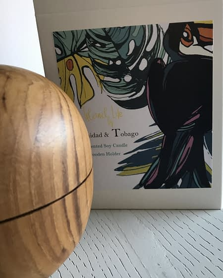trinidad and tabaco Vegan Soy Candle in Teak Wooden Orb
